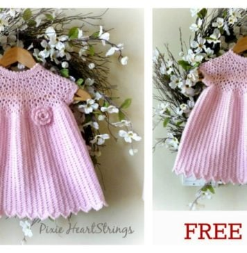 Pretty Pink Baby Dress Free Crochet Pattern