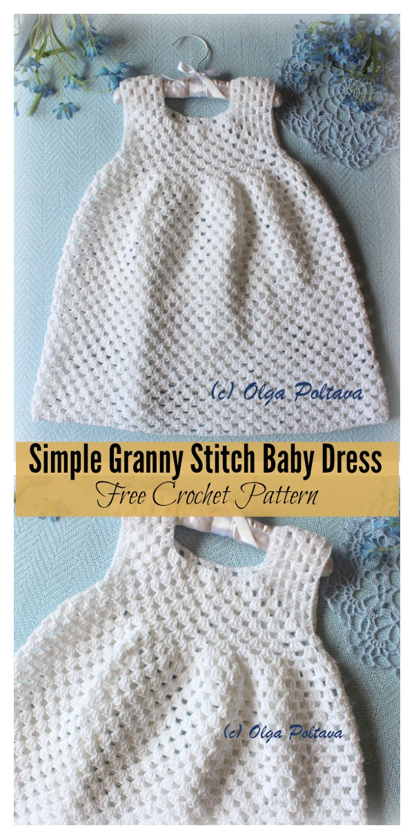 Simple Granny Stitch Baby Dress Free Crochet Pattern