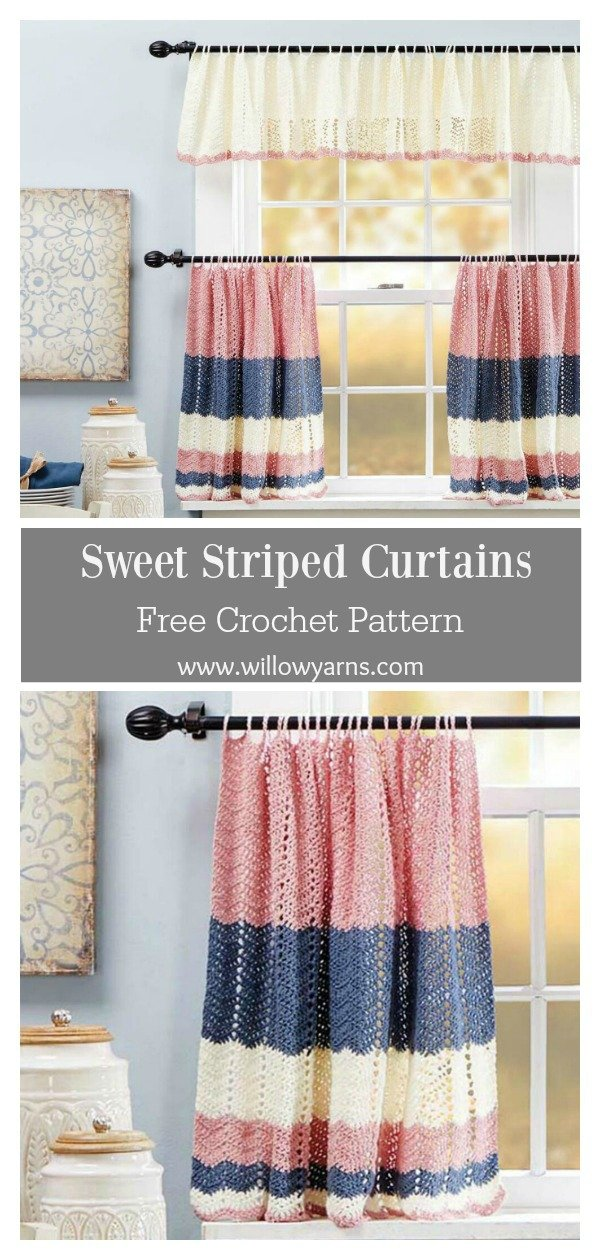 Sweet Striped Curtains Free Crochet Pattern
