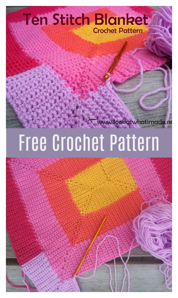 Ten Stitch Blanket Free Crochet Pattern