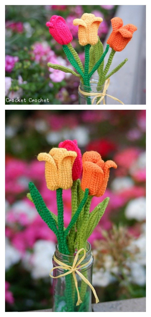 Tulip Flower Free Crochet Pattern and Video Tutorial