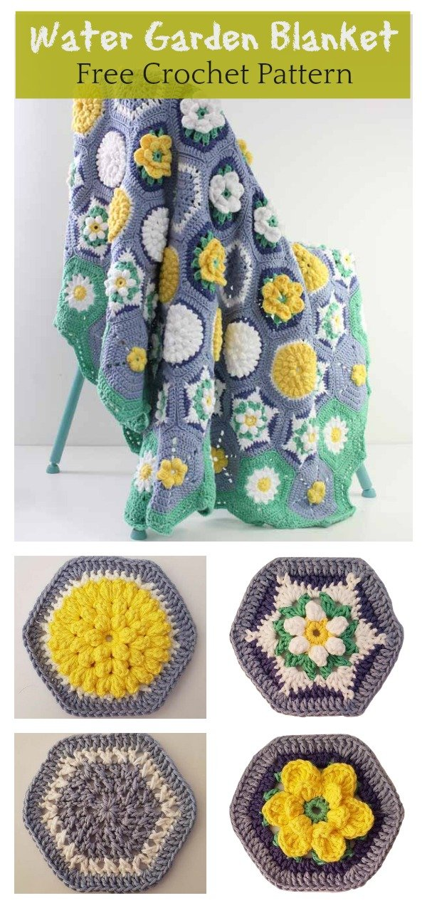 Hexagon Water Garden Blanket Free Crochet Pattern