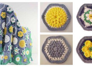 Hexagon Water Garden Blanket Free Crochet Pattern