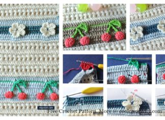 3D Cherries and Flowers Stitch Blanket Free Crochet Pattern