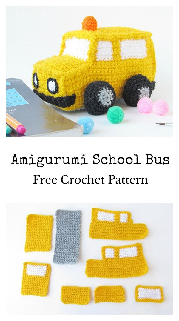 Amigurumi School Bus Soft Toy Free Crochet Pattern