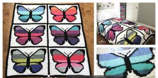 Butterfly Graphgan Afghan Blanket Free Crochet Pattern