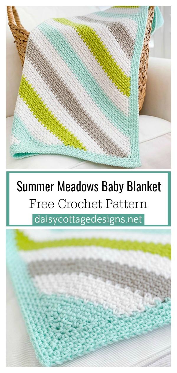 C2C Moss Stitch Summer Meadows Baby Blanket Free Crochet Pattern