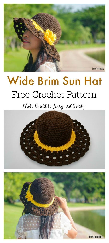 Cappuccino Frappe Wide Brim Sun Hat Free Crochet Pattern