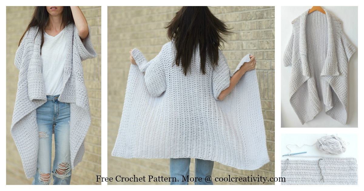 Cascading Kimono Cardigan Free Crochet Pattern