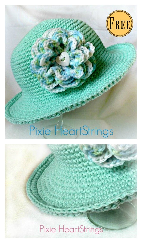 Sun Hat With Flower Free Crochet Pattern