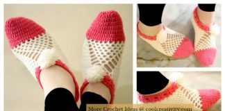 Cluster Slippers Free Crochet Pattern and Video Tutorial