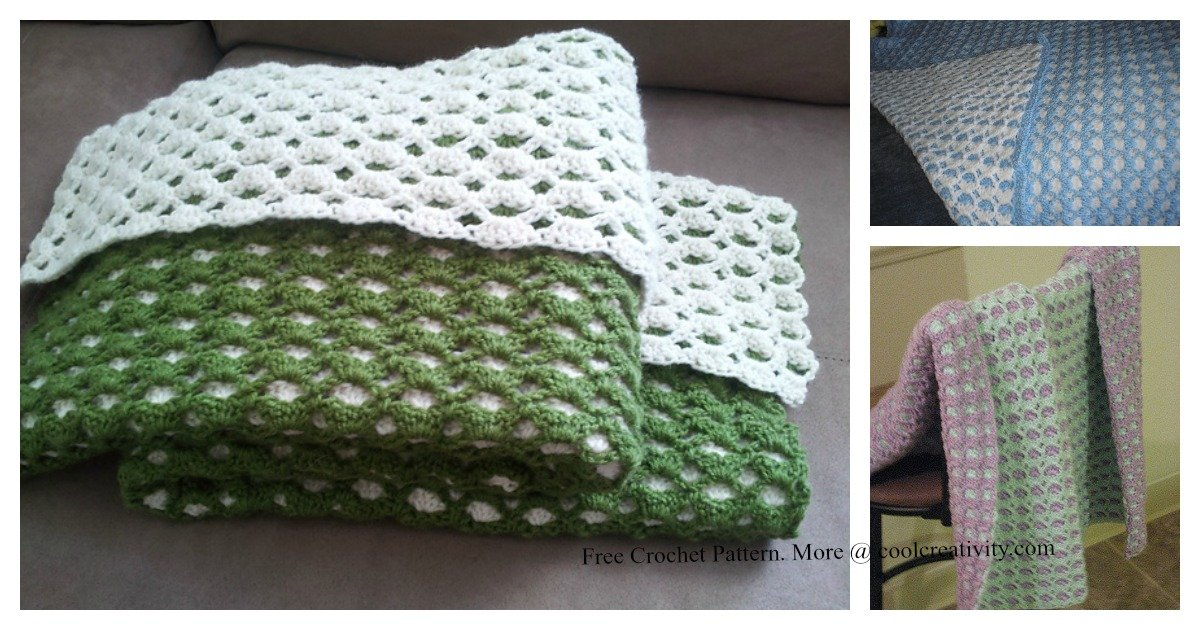 Double Sided Baby Shell Blanket Free Crochet Pattern