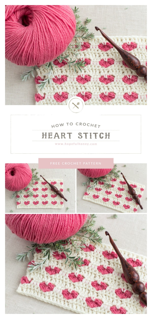 Easy Heart Stitch Free Crochet Pattern and Video Tutorial