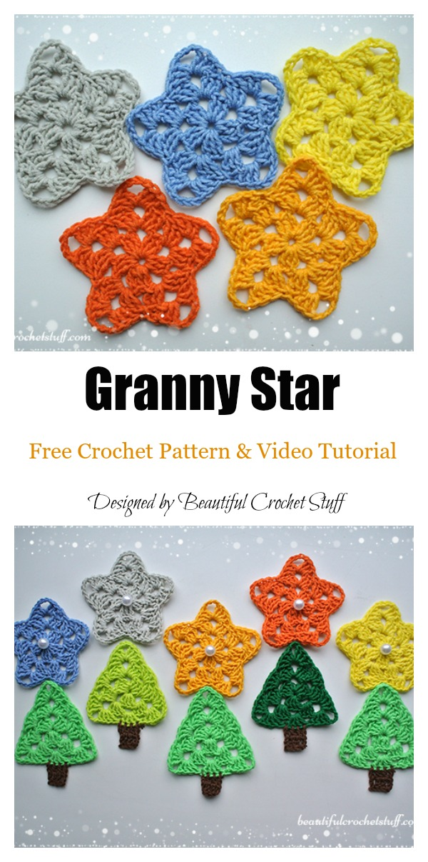 Granny Star Free Crochet Pattern and Video Tutorial