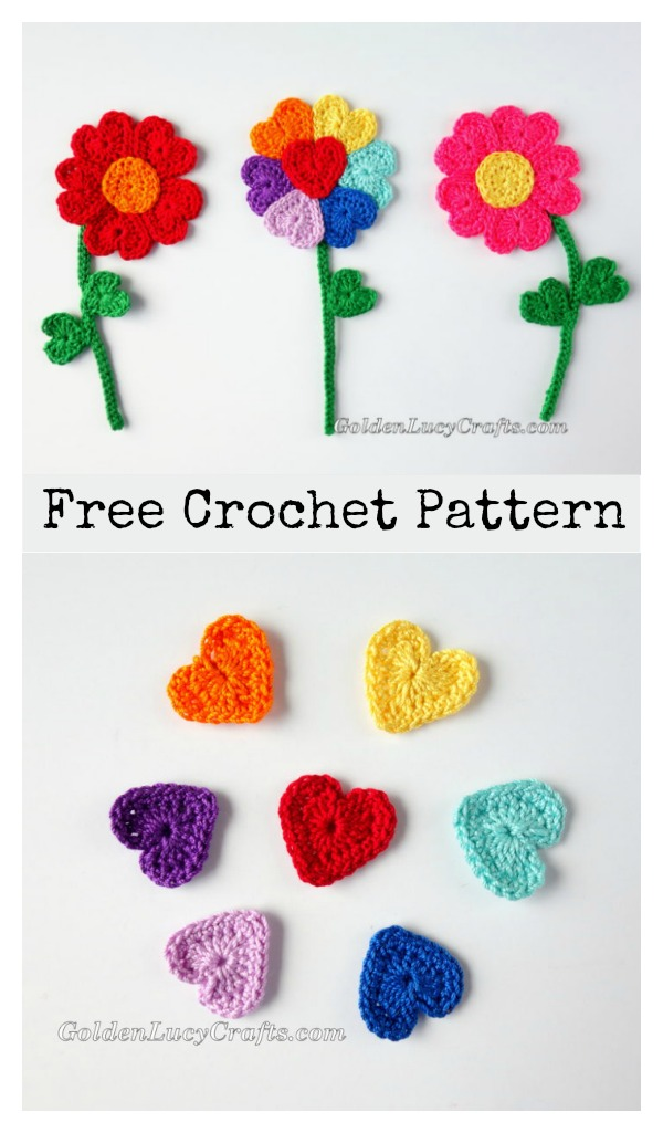Heart Flowers Free Crochet Pattern