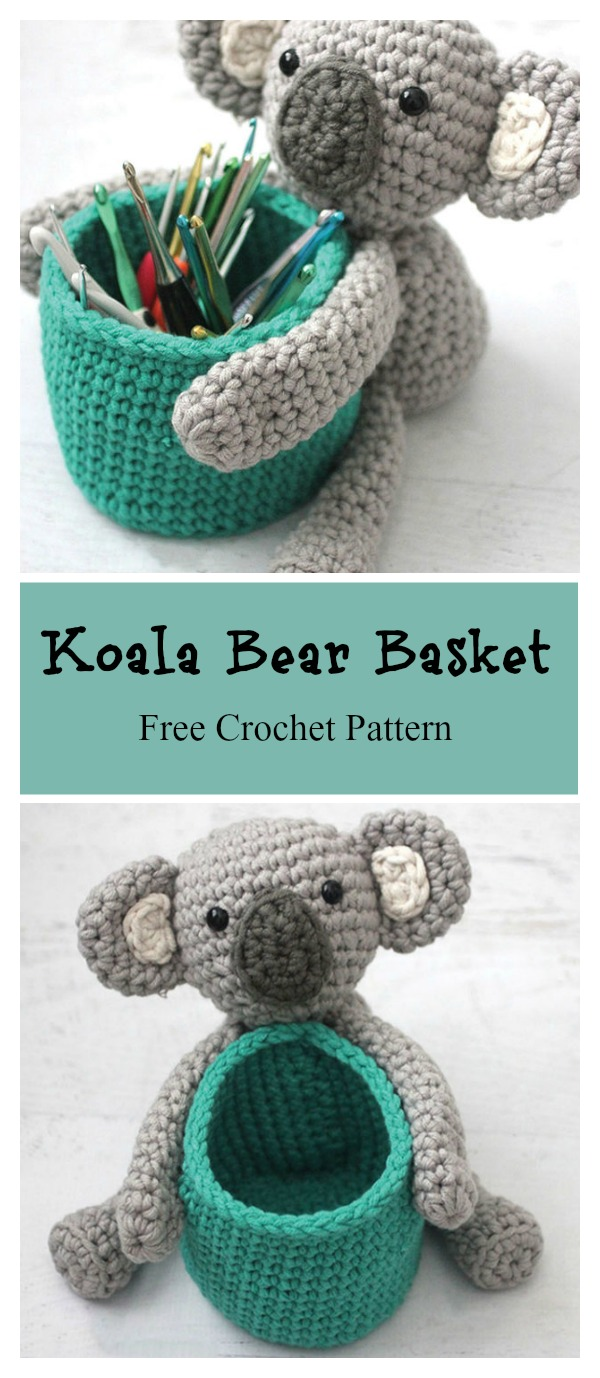 Koala Bear Basket Free Crochet Pattern