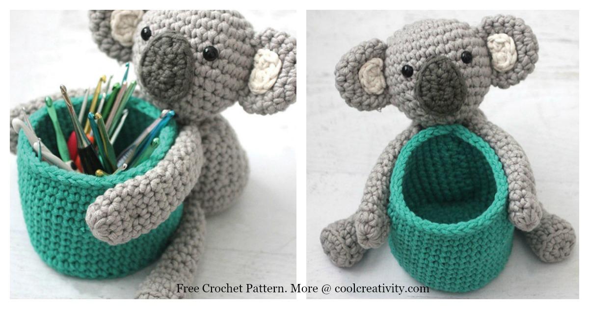 Koala Bear Basket Free Crochet Pattern