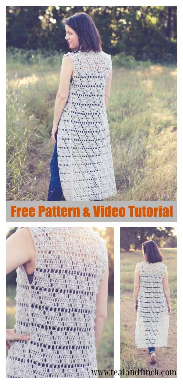 Lace Summer Pop Vest Free Crochet Pattern and Video Tutorial