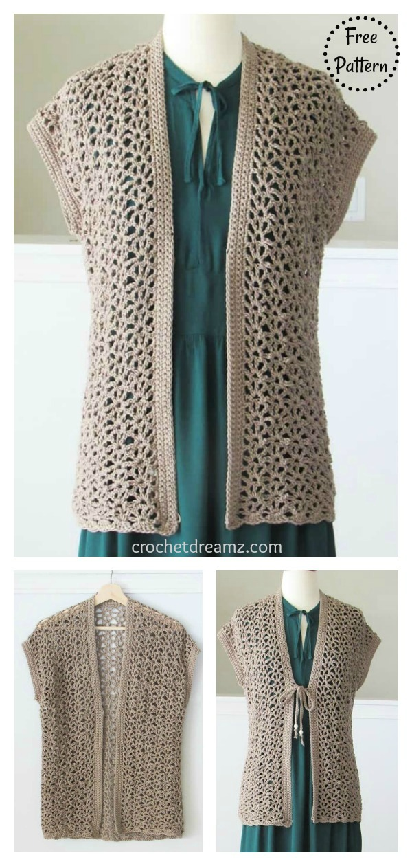 Easy Lacy Cardigan Free Crochet Pattern