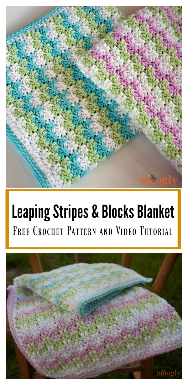 Leaping Stripes and Blocks Blanket Free Crochet Pattern and Video Tutorial