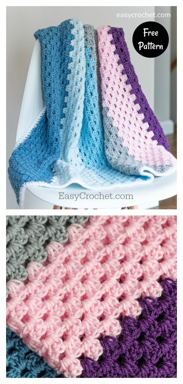Modern Granny Baby Blanket Free Crochet Pattern