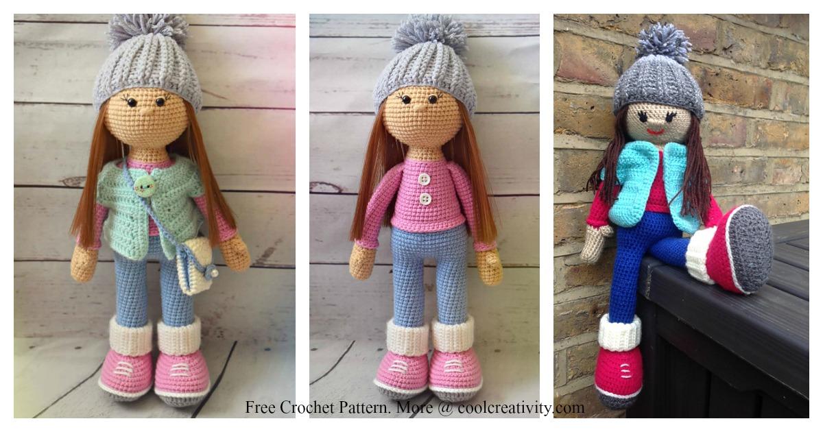 Baby Bean Doll (Free Amigurumi Crochet Pattern, Human Body Doll ... | 630x1200