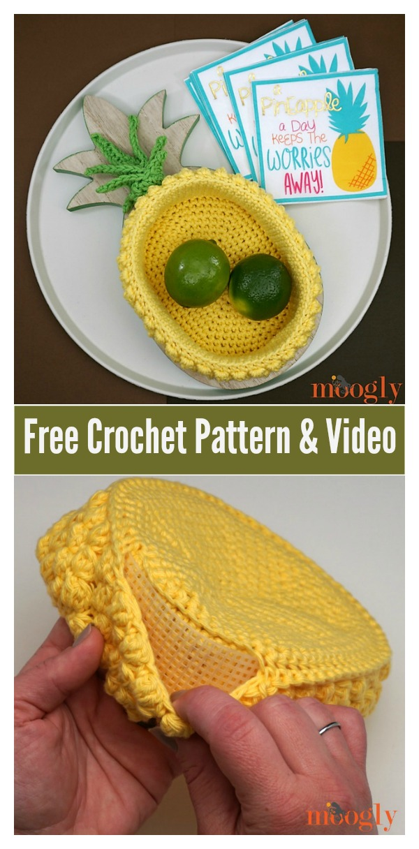 Pineapple Basket Free Crochet Pattern and Video Tutorial