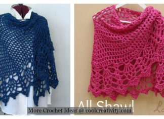 Pineapple Stitch All Shawl Free Crochet Pattern