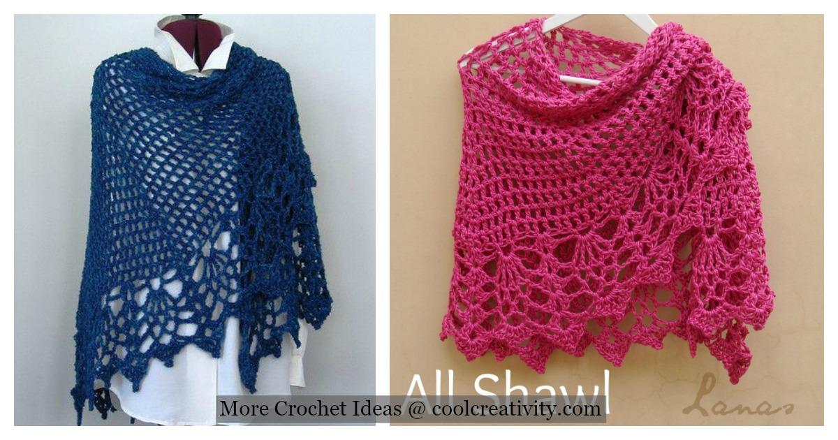 Pineapple Stitch All Shawl Free Crochet Pattern