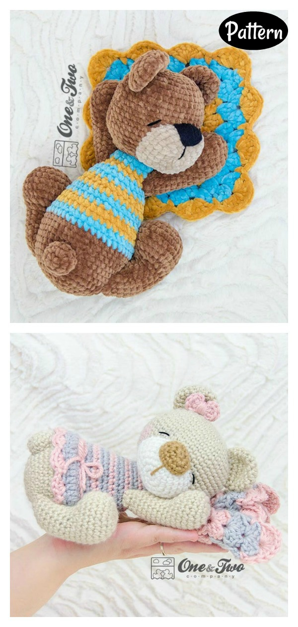 Sleeping Bear Amigurumi Crochet Pattern
