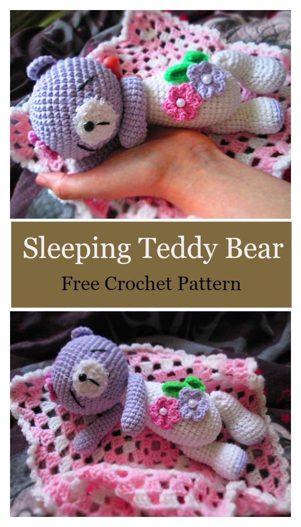 Sleeping Teddy Bear Free Crochet Pattern