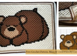 Sleepy Bear C2C Baby Blanket Free Crochet Pattern