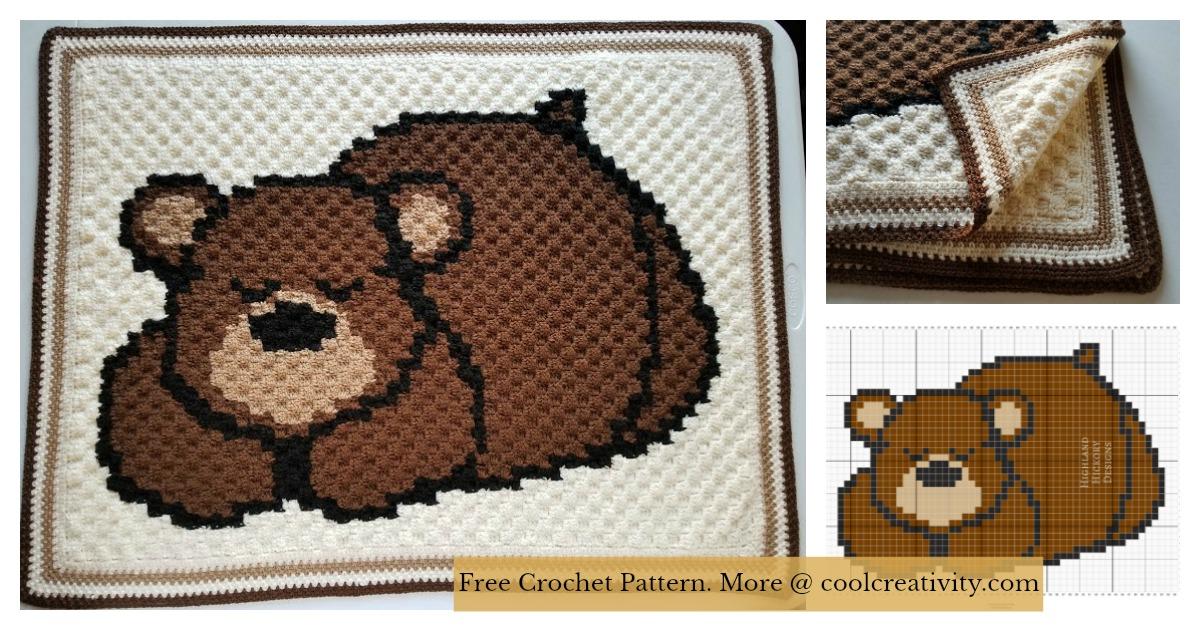 Sleepy Bear C2c Baby Blanket Free Crochet Pattern