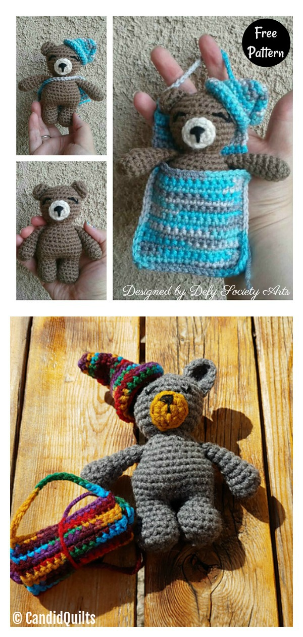 Sleepy Bear With a Sleeping Bag Free Crochet Pattern