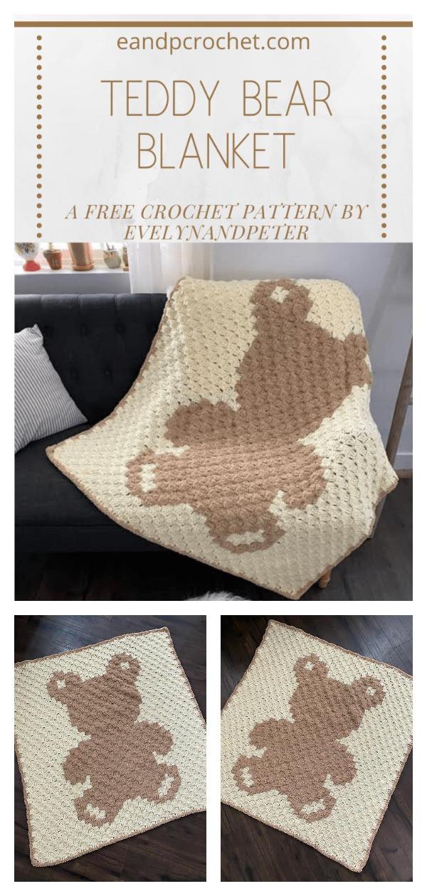 Teddy Bear C2C Baby Blanket Free Crochet Pattern