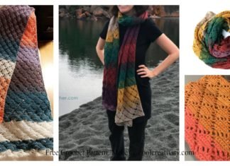 Wrap me in Diamonds Scarf Free Crochet Pattern and Video Tutorial