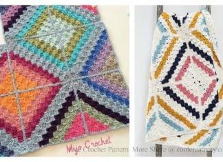 C2C Cedar River Blanket Free Crochet Pattern
