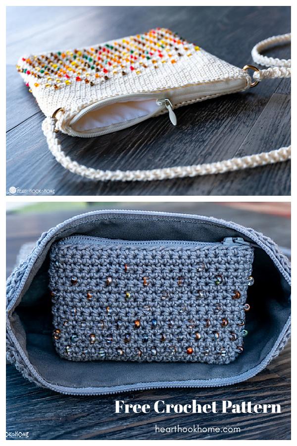 Cross-Body Bead Bag Free Crochet Pattern