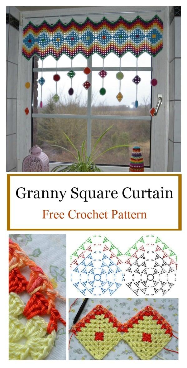 Granny Square Curtain Free Crochet Pattern
