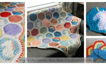 Hexipuff Unicorn Baby Blanket Free Crochet Pattern
