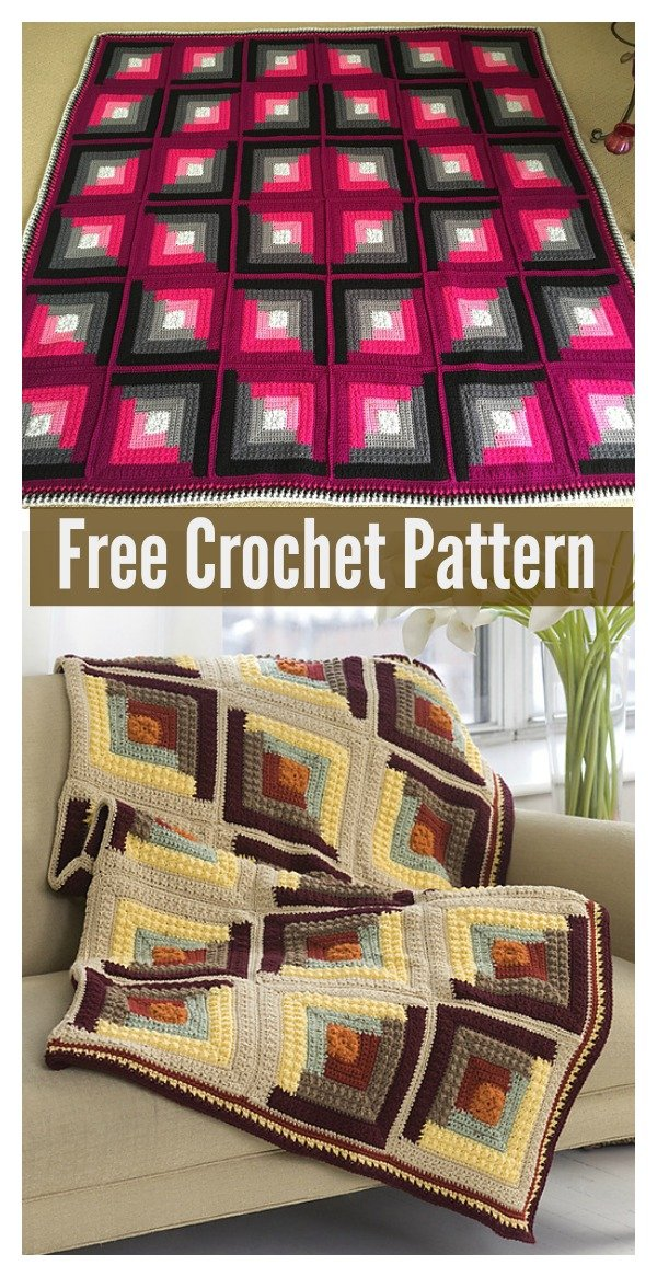 Log Cabin Blanket Free Crochet Pattern
