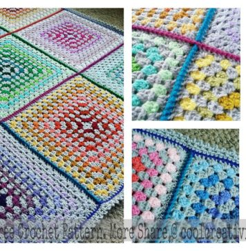Patchwork Granny Square Blanket Free Crochet Pattern