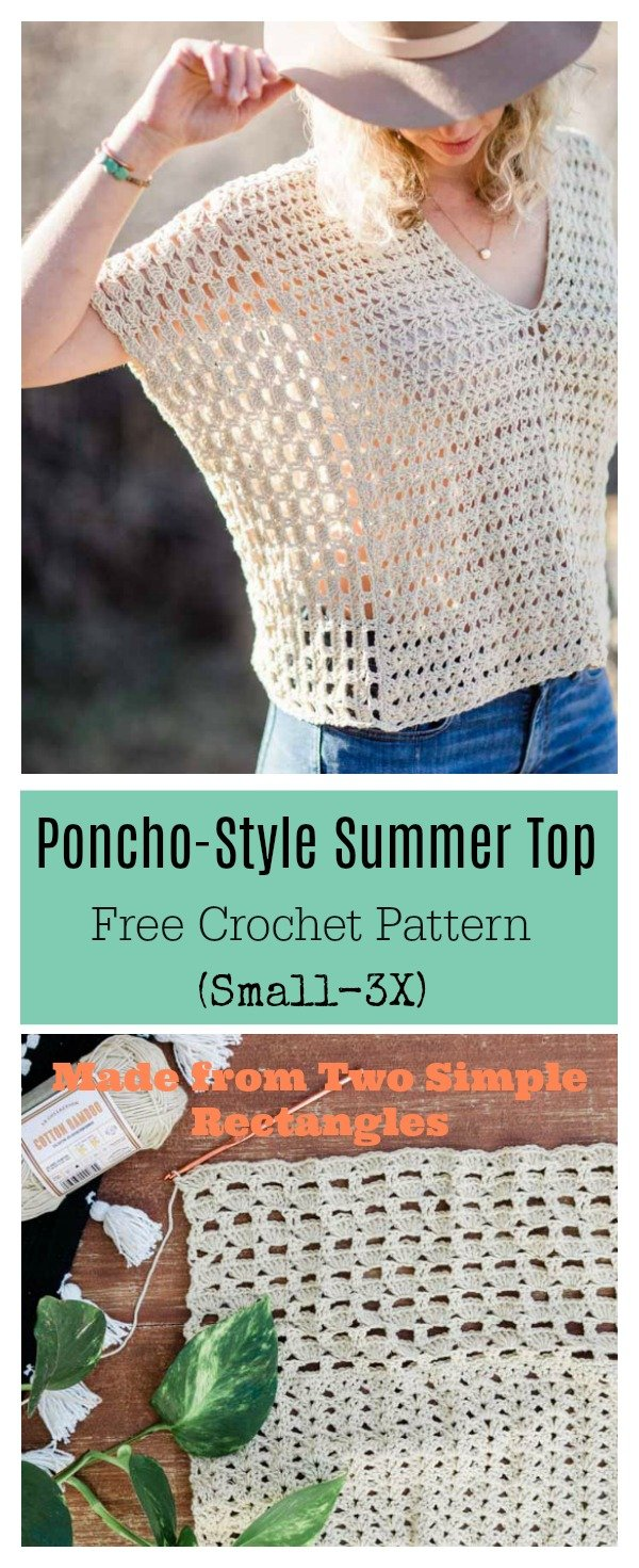 Poncho-Style Summer Top Free Crochet Pattern
