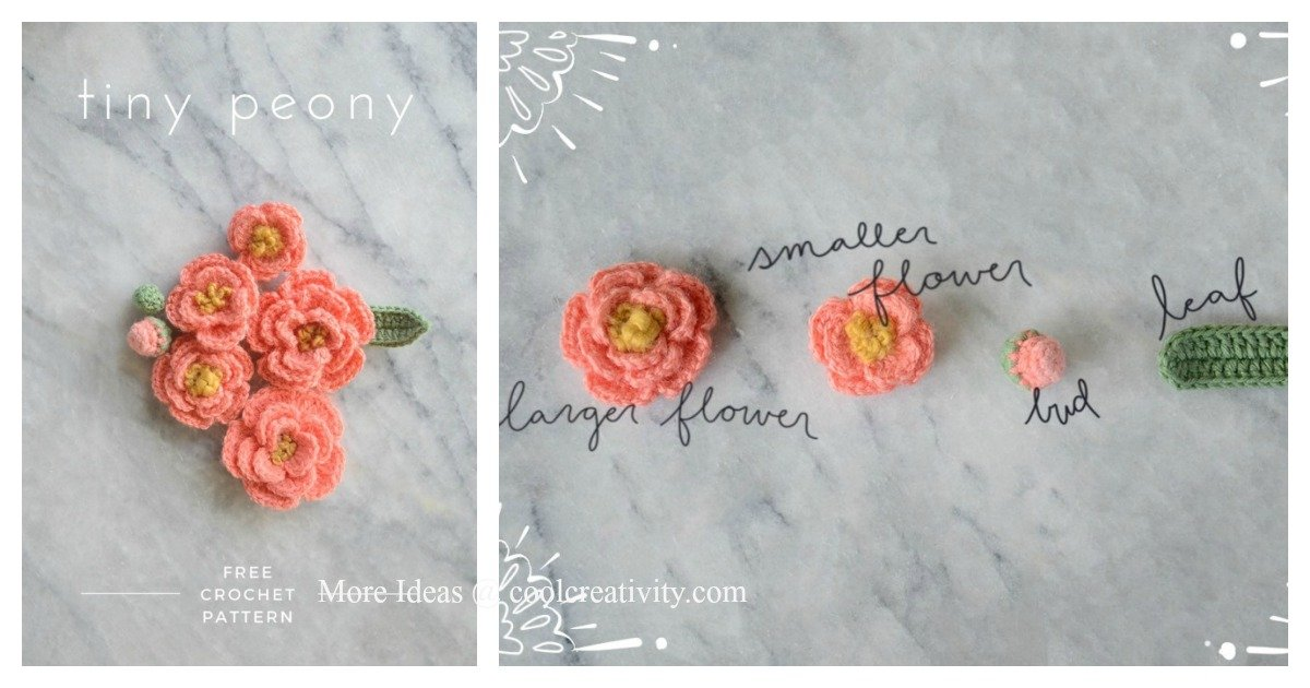 Tiny Peony Flower Free Crochet Pattern