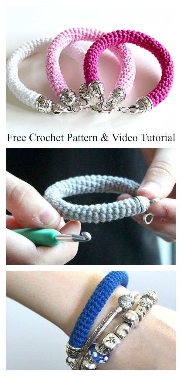 Tube Bracelet Free Crochet Pattern and Video Tutorial