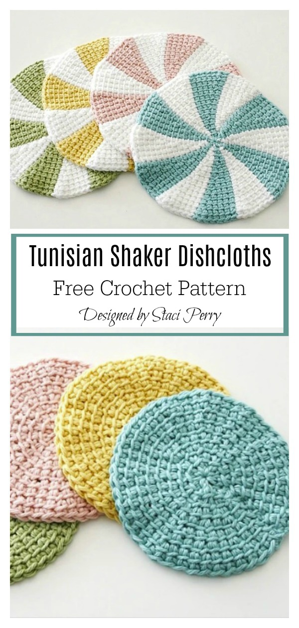 Tunisian Shaker Dishcloths Free Crochet Pattern