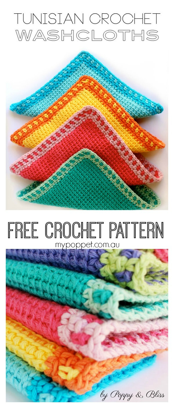 Tunisian Stitch Washcloths Free Crochet Pattern