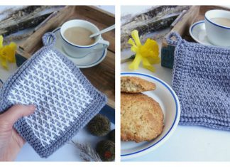 Tunisian Stitch Washcloths Potholder Free Crochet Pattern