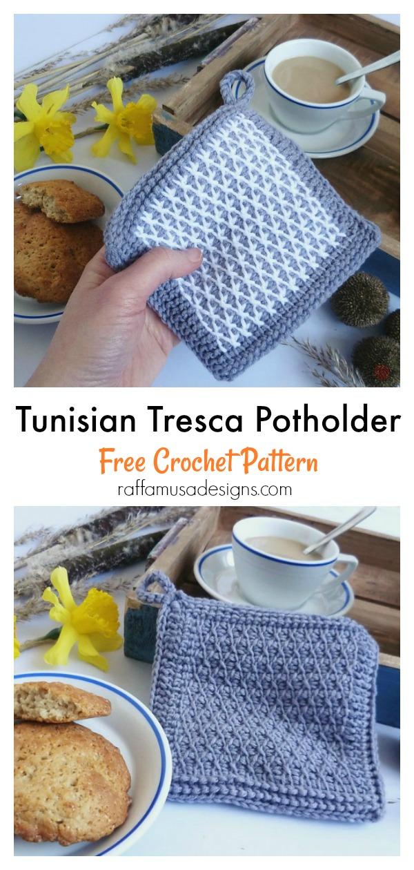 Tunisian Tresca Potholder Free Crochet Pattern