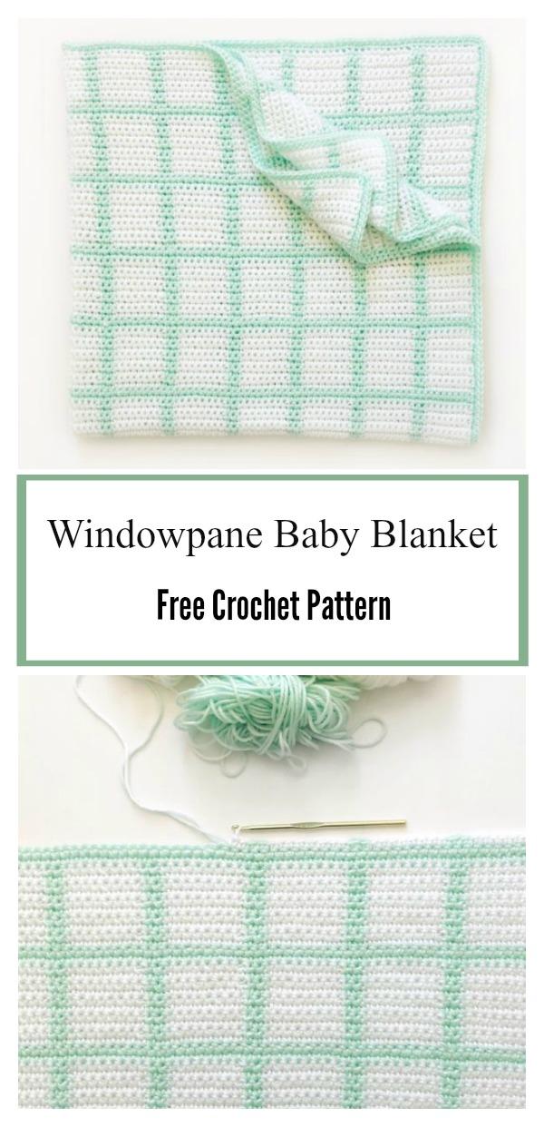 Windowpane Baby Blanket Free Crochet Pattern